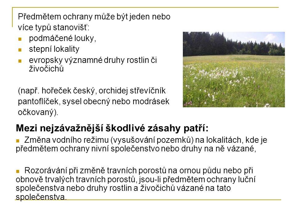 Předmětem ochrany může být jeden nebo více typů stanovišť: podmáčené louky, stepní lokality evropsky významné druhy rostlin či živočichů (např.