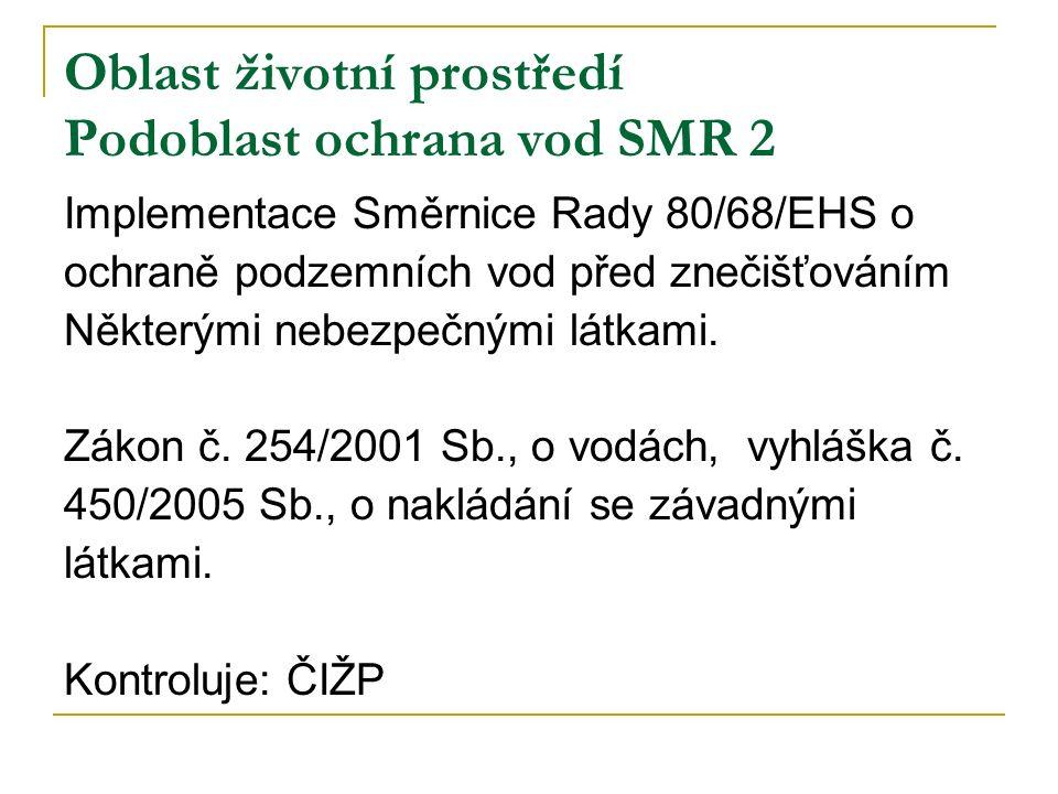 Oblast životní prostředí Podoblast ochrana vod SMR 2 Implementace Směrnice Rady 80/68/EHS o ochraně podzemních vod před znečišťováním Některými nebezpečnými látkami.