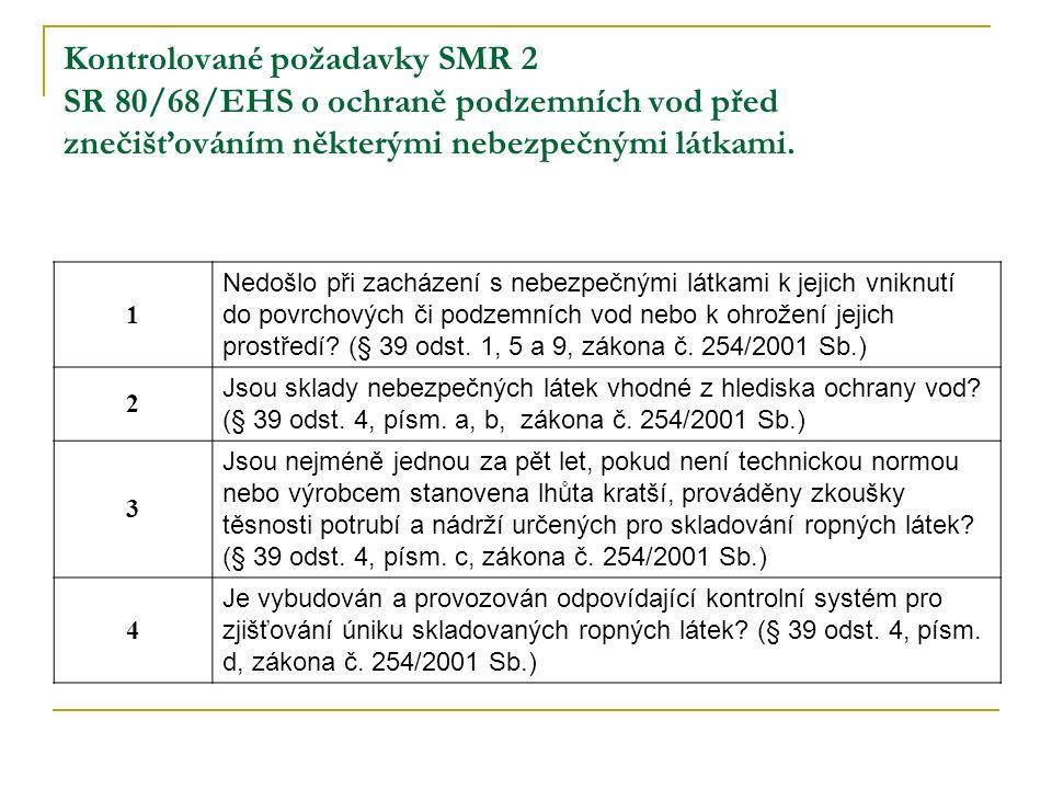 Kontrolované požadavky SMR 2 SR 80/68/EHS o ochraně podzemních vod před znečišťováním některými nebezpečnými látkami.