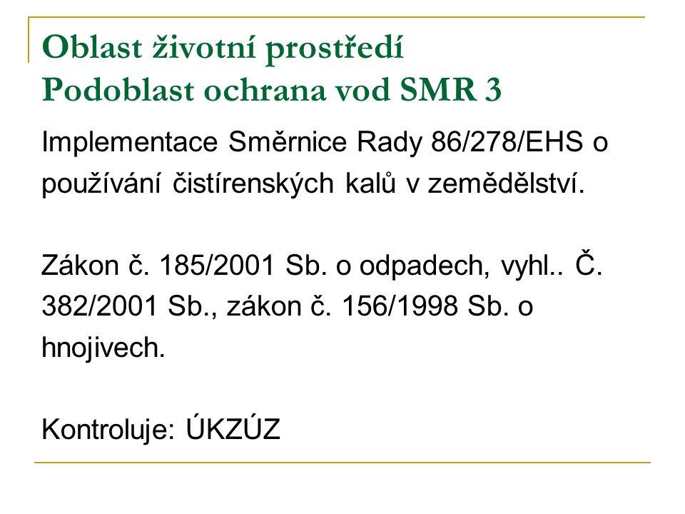 Oblast životní prostředí Podoblast ochrana vod SMR 3 Implementace Směrnice Rady 86/278/EHS o používání čistírenských kalů v zemědělství.