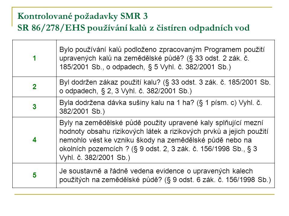 Kontrolované požadavky SMR 3 SR 86/278/EHS používání kalů z čistíren odpadních vod 1 Bylo používání kalů podloženo zpracovaným Programem použití upravených kalů na zemědělské půdě.