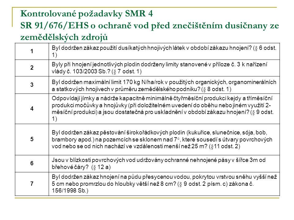 Kontrolované požadavky SMR 4 SR 91/676/EHS o ochraně vod před znečištěním dusičnany ze zemědělských zdrojů 1 Byl dodržen zákaz použití dusíkatých hnojivých látek v období zákazu hnojení.