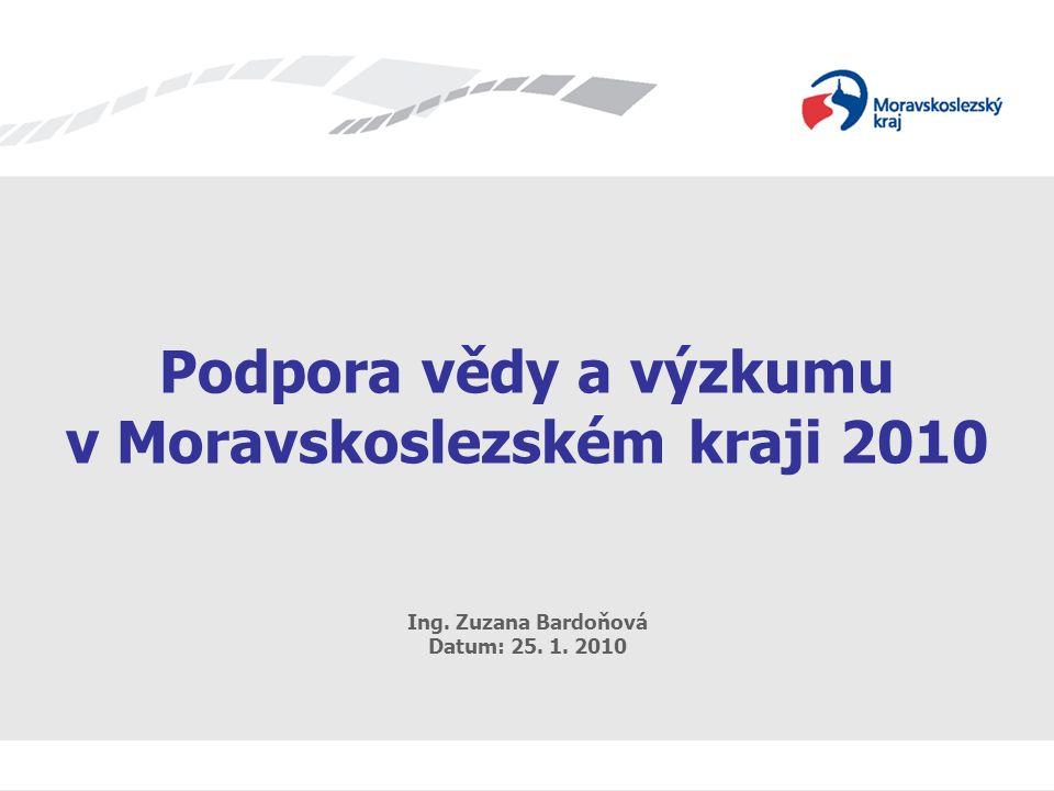 Název prezentace Podpora vědy a výzkumu v Moravskoslezském kraji 2010 Ing. Zuzana Bardoňová Datum: 25. 1. 2010