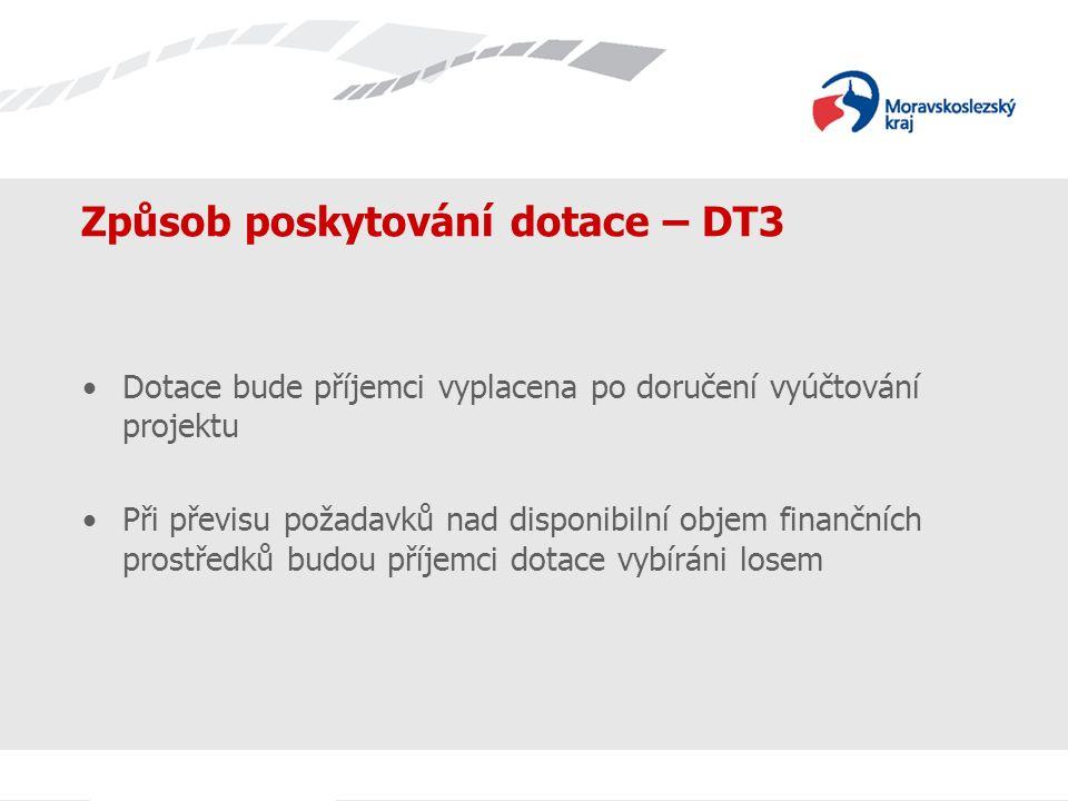 Název prezentace Způsob poskytování dotace – DT3 Dotace bude příjemci vyplacena po doručení vyúčtování projektu Při převisu požadavků nad disponibilní