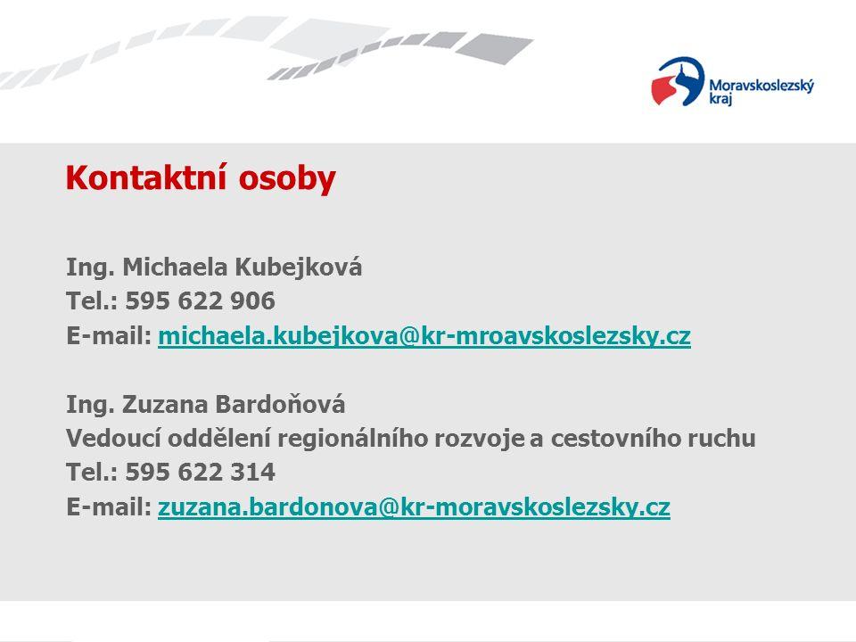 Název prezentace Kontaktní osoby Ing. Michaela Kubejková Tel.: 595 622 906 E-mail: michaela.kubejkova@kr-mroavskoslezsky.czmichaela.kubejkova@kr-mroav