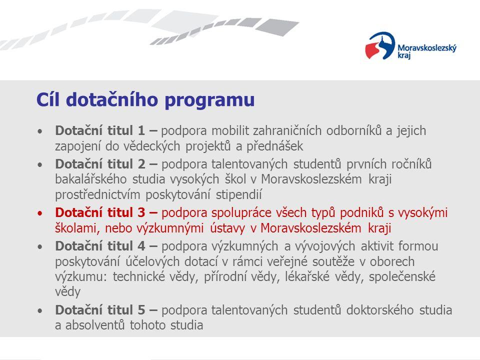 Název prezentace Cíl dotačního programu Dotační titul 1 – podpora mobilit zahraničních odborníků a jejich zapojení do vědeckých projektů a přednášek D