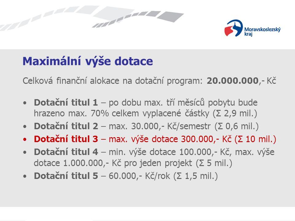 Název prezentace Maximální výše dotace Celková finanční alokace na dotační program: 20.000.000,- Kč Dotační titul 1 – po dobu max. tří měsíců pobytu b
