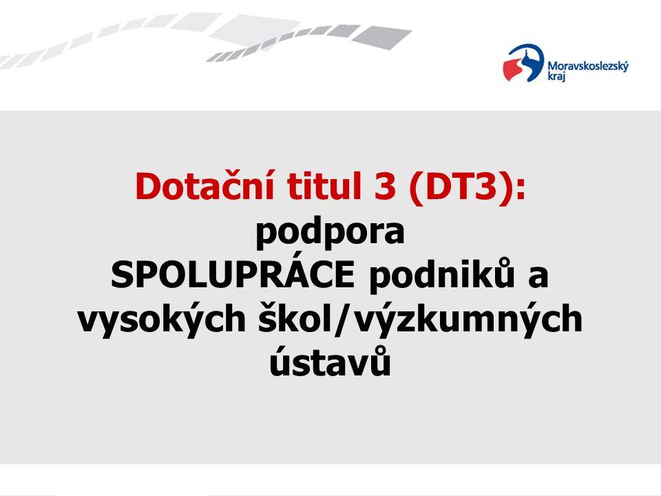 Název prezentace Dotační titul 3 (DT3): podpora SPOLUPRÁCE podniků a vysokých škol/výzkumných ústavů