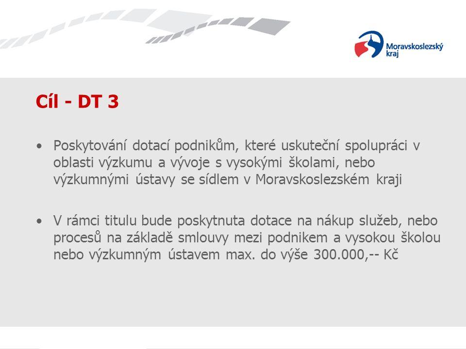 Název prezentace Cíl - DT 3 Poskytování dotací podnikům, které uskuteční spolupráci v oblasti výzkumu a vývoje s vysokými školami, nebo výzkumnými úst