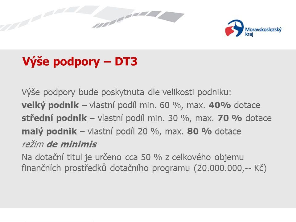 Název prezentace Výše podpory – DT3 Výše podpory bude poskytnuta dle velikosti podniku: velký podnik – vlastní podíl min. 60 %, max. 40% dotace středn