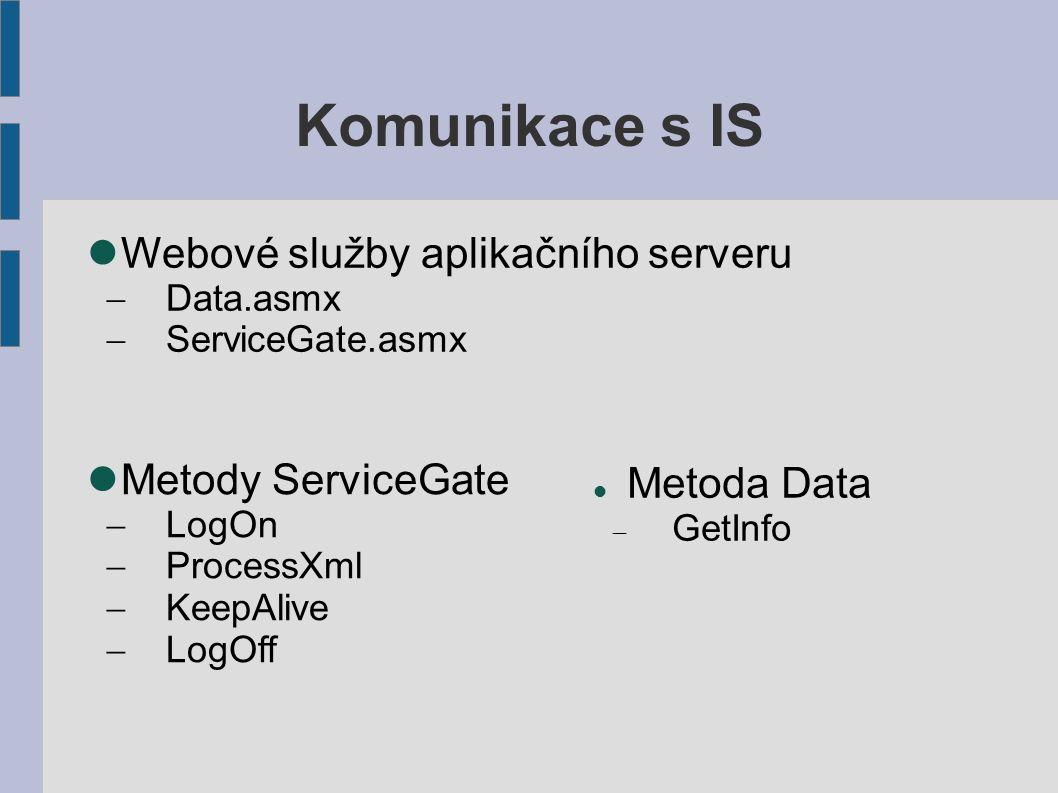 Komunikace s IS Metoda Data  GetInfo Metody ServiceGate  LogOn  ProcessXml  KeepAlive  LogOff Webové služby aplikačního serveru  Data.asmx  ServiceGate.asmx