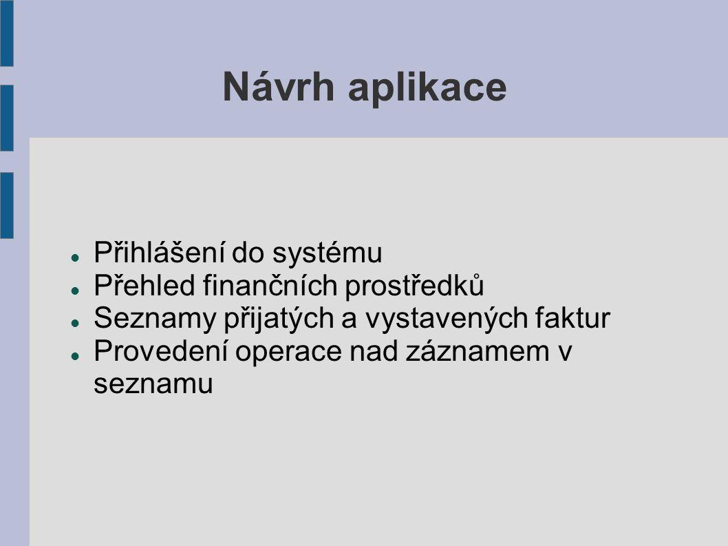 Návrh aplikace Přihlášení do systému Přehled finančních prostředků Seznamy přijatých a vystavených faktur Provedení operace nad záznamem v seznamu