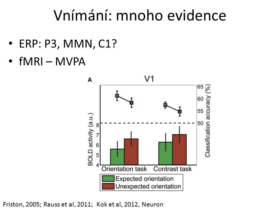 Vnímání: mnoho evidence ERP: P3, MMN, C1.