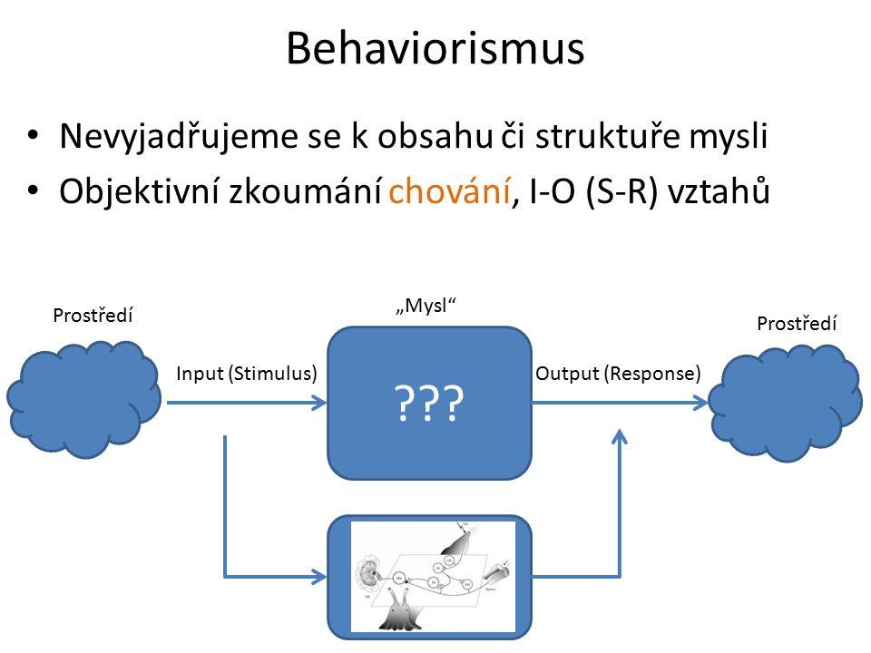 Behaviorismus Nevyjadřujeme se k obsahu či struktuře mysli Objektivní zkoumání chování, I-O (S-R) vztahů ??.
