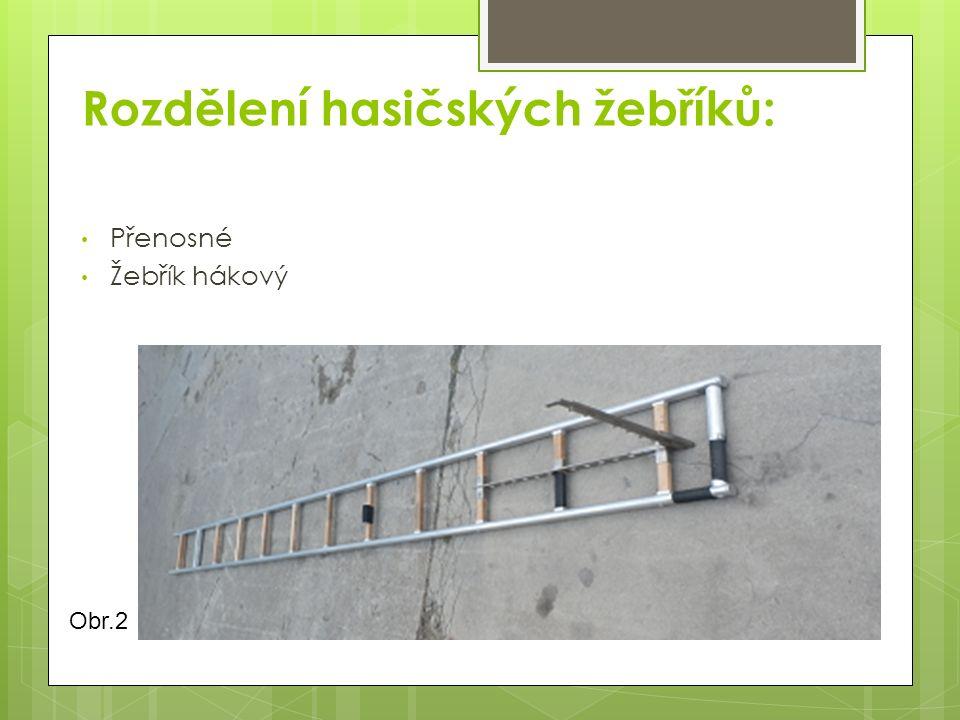 Rozdělení hasičských žebříků: Přenosné Žebřík hákový Obr.2