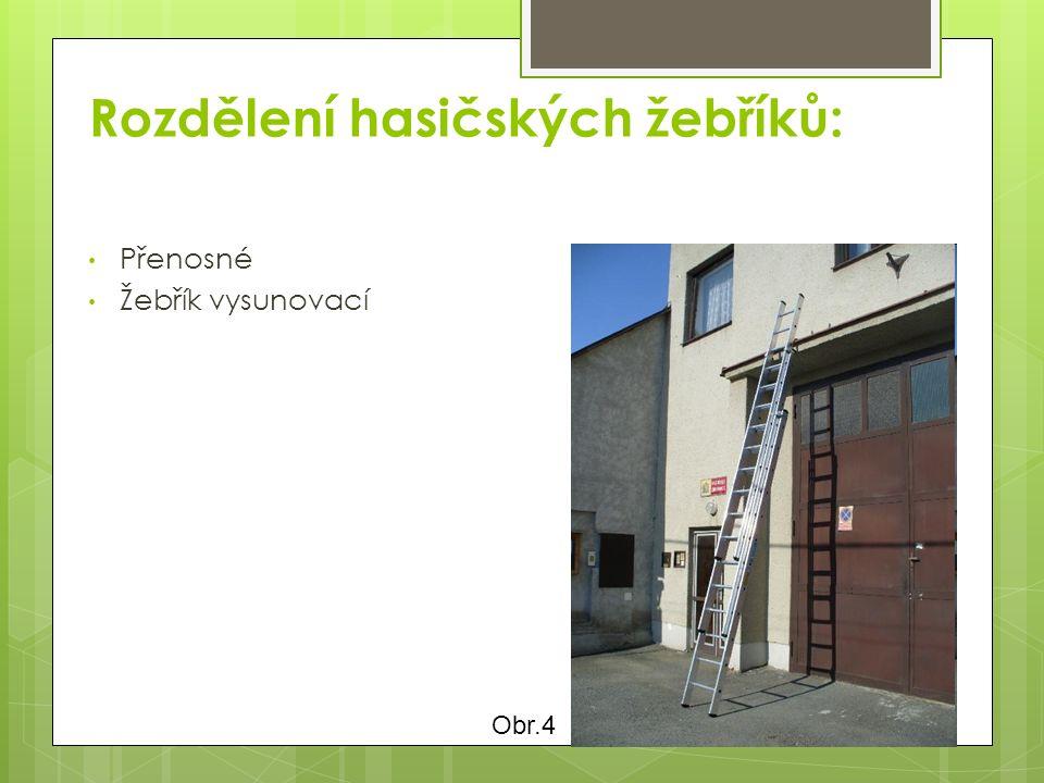 Rozdělení hasičských žebříků: Přenosné Žebřík vysunovací Obr.4