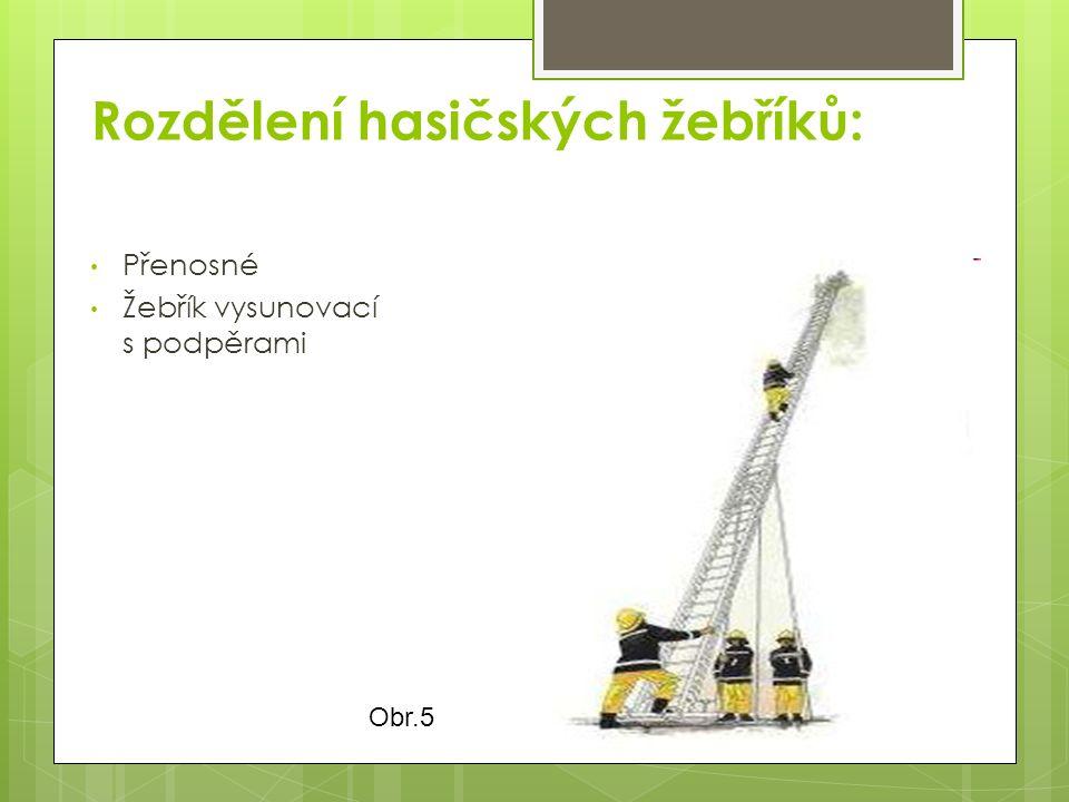 Rozdělení hasičských žebříků: Přenosné Žebřík vysunovací s podpěrami Obr.5