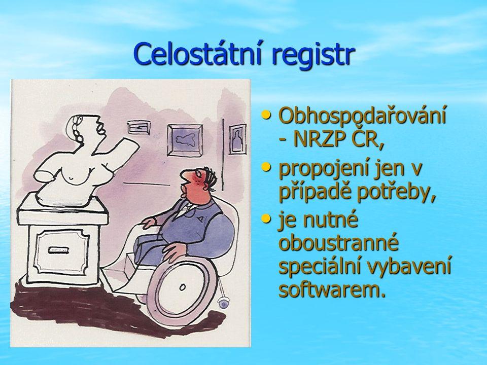 Celostátní registr Obhospodařování - NRZP ČR, Obhospodařování - NRZP ČR, propojení jen v případě potřeby, propojení jen v případě potřeby, je nutné oboustranné speciální vybavení softwarem.
