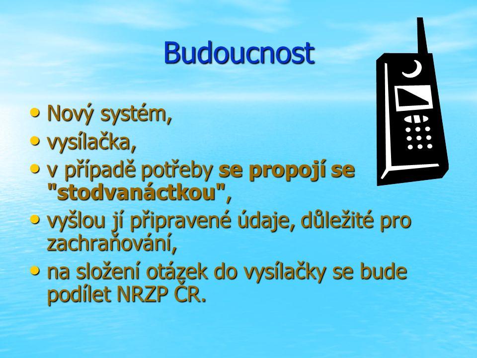 Budoucnost Nový systém, Nový systém, vysílačka, vysílačka, v případě potřeby se propojí se stodvanáctkou , v případě potřeby se propojí se stodvanáctkou , vyšlou jí připravené údaje, důležité pro zachraňování, vyšlou jí připravené údaje, důležité pro zachraňování, na složení otázek do vysílačky se bude podílet NRZP ČR.