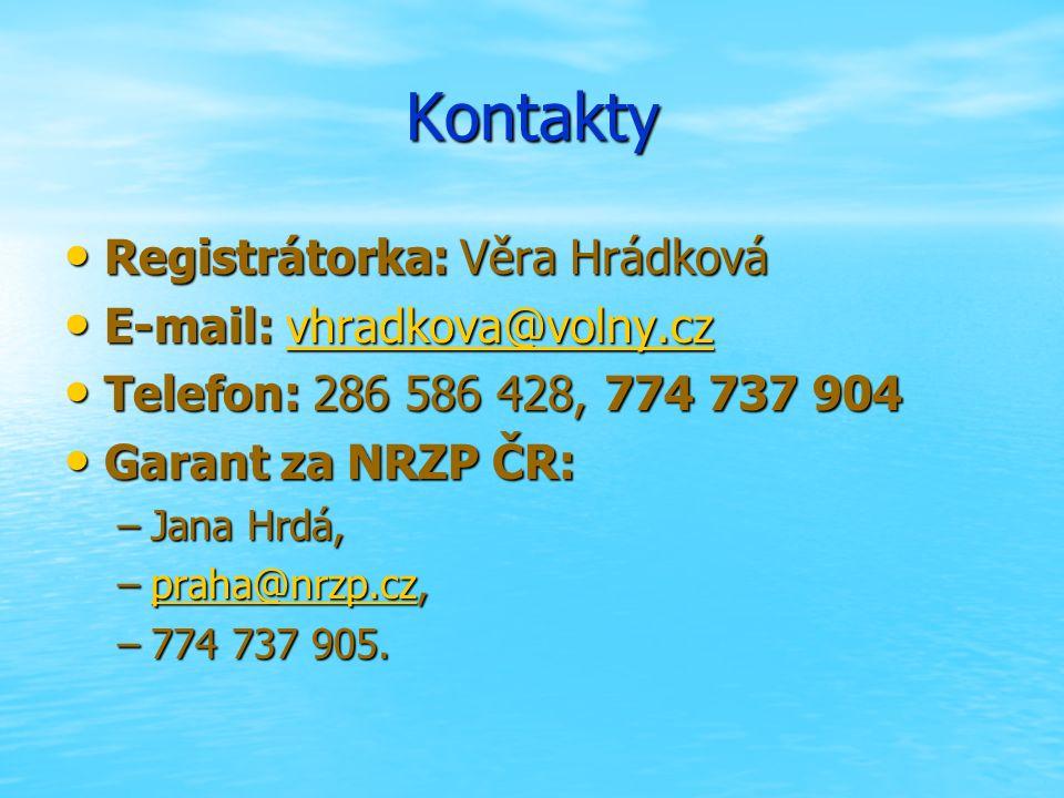 Kontakty Registrátorka: Věra Hrádková Registrátorka: Věra Hrádková E-mail: vhradkova@volny.cz E-mail: vhradkova@volny.czvhradkova@volny.cz Telefon: 286 586 428, 774 737 904 Telefon: 286 586 428, 774 737 904 Garant za NRZP ČR: Garant za NRZP ČR: –Jana Hrdá, –praha@nrzp.cz, praha@nrzp.cz –774 737 905.