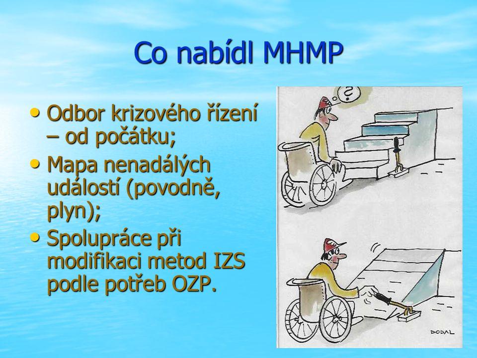 Co nabídl MHMP Odbor krizového řízení – od počátku; Odbor krizového řízení – od počátku; Mapa nenadálých událostí (povodně, plyn); Mapa nenadálých událostí (povodně, plyn); Spolupráce při modifikaci metod IZS podle potřeb OZP.