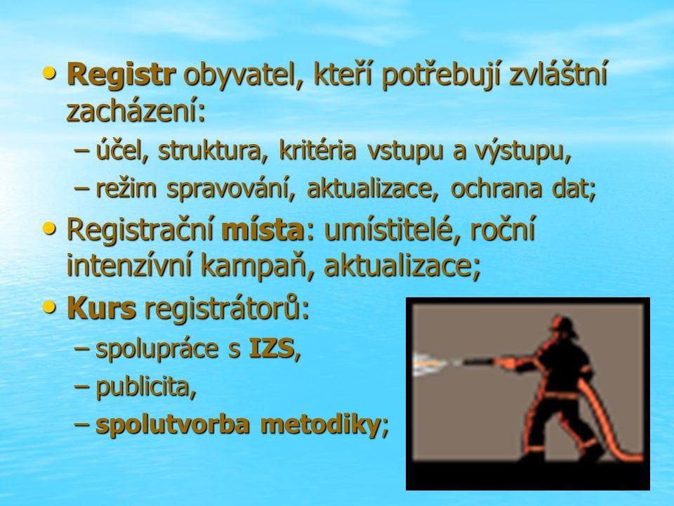 Registr obyvatel, kteří potřebují zvláštní zacházení: Registr obyvatel, kteří potřebují zvláštní zacházení: –účel, struktura, kritéria vstupu a výstupu, –režim spravování, aktualizace, ochrana dat; Registrační místa: umístitelé, roční intenzívní kampaň, aktualizace; Registrační místa: umístitelé, roční intenzívní kampaň, aktualizace; Kurs registrátorů: Kurs registrátorů: –spolupráce s IZS, –publicita, –spolutvorba metodiky;