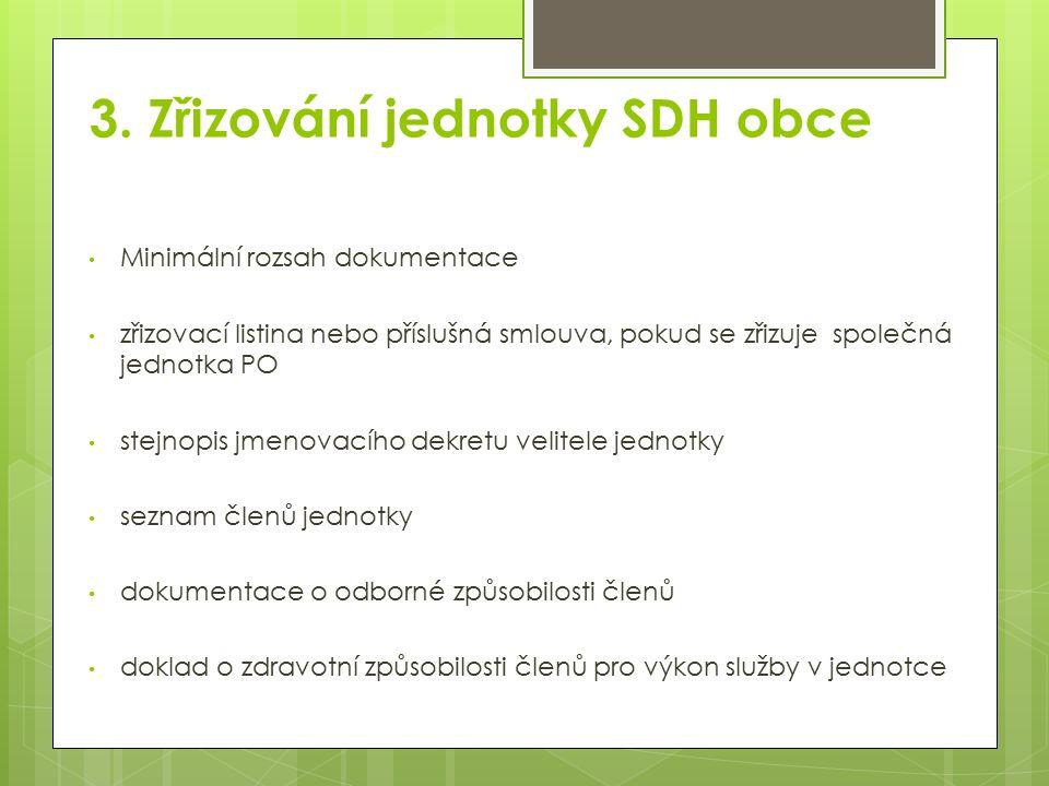3. Zřizování jednotky SDH obce Minimální rozsah dokumentace zřizovací listina nebo příslušná smlouva, pokud se zřizuje společná jednotka PO stejnopis