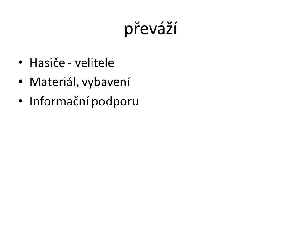 převáží Hasiče - velitele Materiál, vybavení Informační podporu