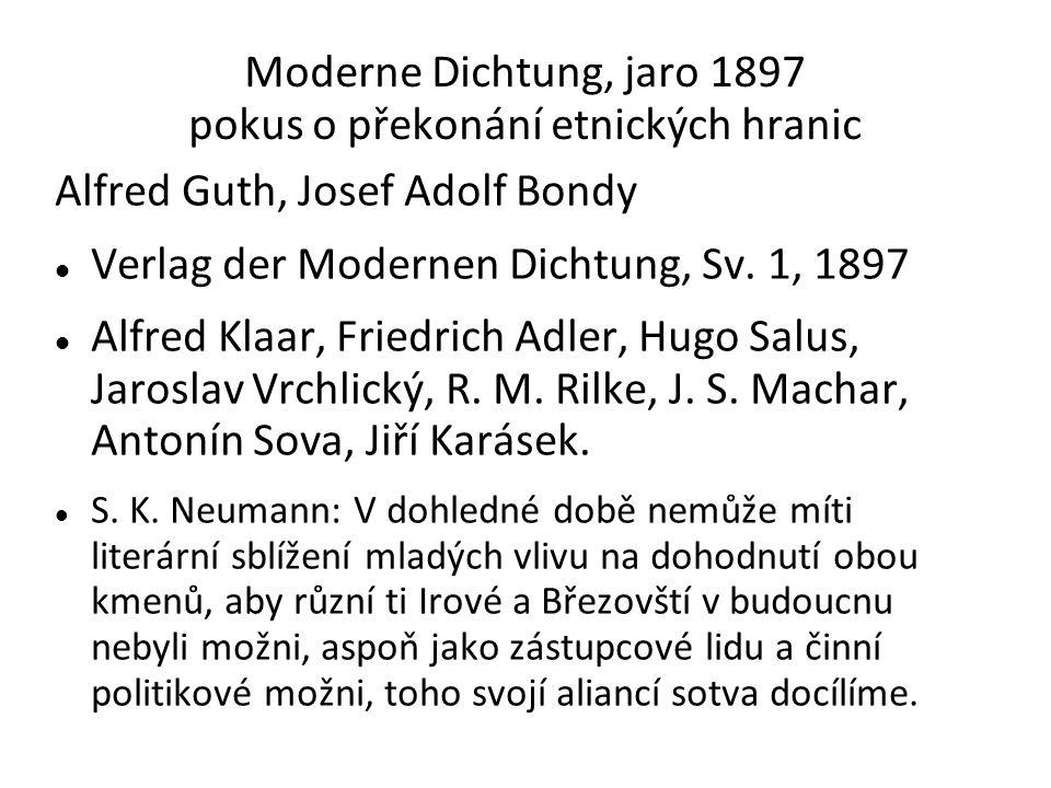 Moderne Dichtung, jaro 1897 pokus o překonání etnických hranic Alfred Guth, Josef Adolf Bondy Verlag der Modernen Dichtung, Sv.