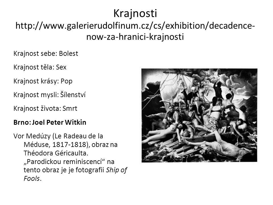 Krajnosti http://www.galerierudolfinum.cz/cs/exhibition/decadence- now-za-hranici-krajnosti Krajnost sebe: Bolest Krajnost těla: Sex Krajnost krásy: P