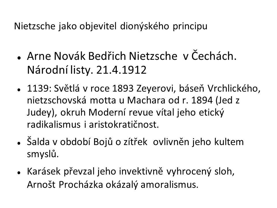Nietzsche, Překlady díla do češtiny F.V.