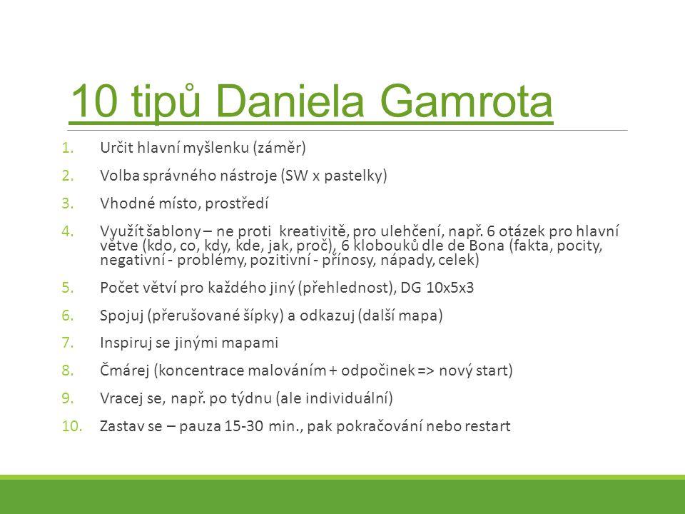 10 tipů Daniela Gamrota 1.Určit hlavní myšlenku (záměr) 2.Volba správného nástroje (SW x pastelky) 3.Vhodné místo, prostředí 4.Využít šablony – ne proti kreativitě, pro ulehčení, např.