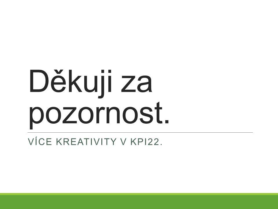 Děkuji za pozornost. VÍCE KREATIVITY V KPI22.