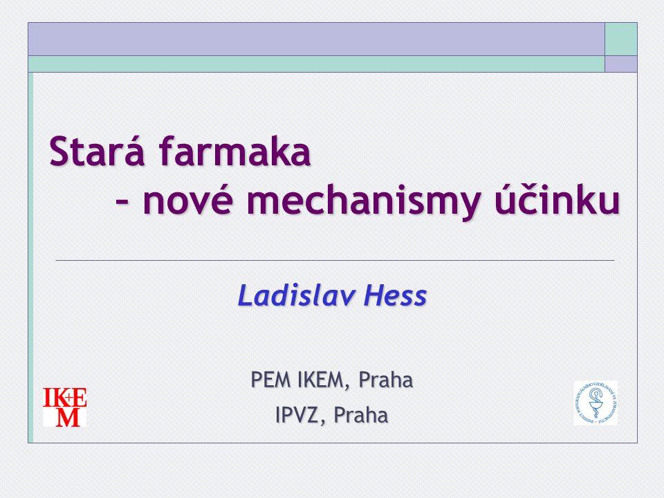 Stará farmaka – nové mechanismy účinku Ladislav Hess PEM IKEM, Praha IPVZ, Praha