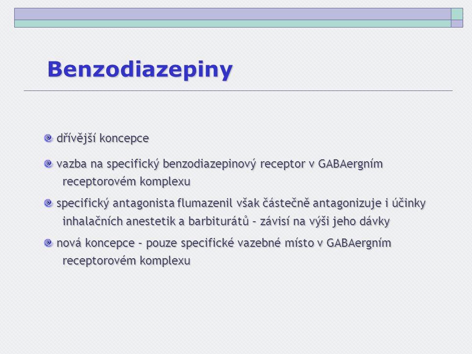 Benzodiazepiny dřívější koncepce dřívější koncepce vazba na specifický benzodiazepinový receptor v GABAergním vazba na specifický benzodiazepinový receptor v GABAergním receptorovém komplexu specifický antagonista flumazenil však částečně antagonizuje i účinky specifický antagonista flumazenil však částečně antagonizuje i účinky inhalačních anestetik a barbiturátů – závisí na výši jeho dávky nová koncepce – pouze specifické vazebné místo v GABAergním nová koncepce – pouze specifické vazebné místo v GABAergním receptorovém komplexu