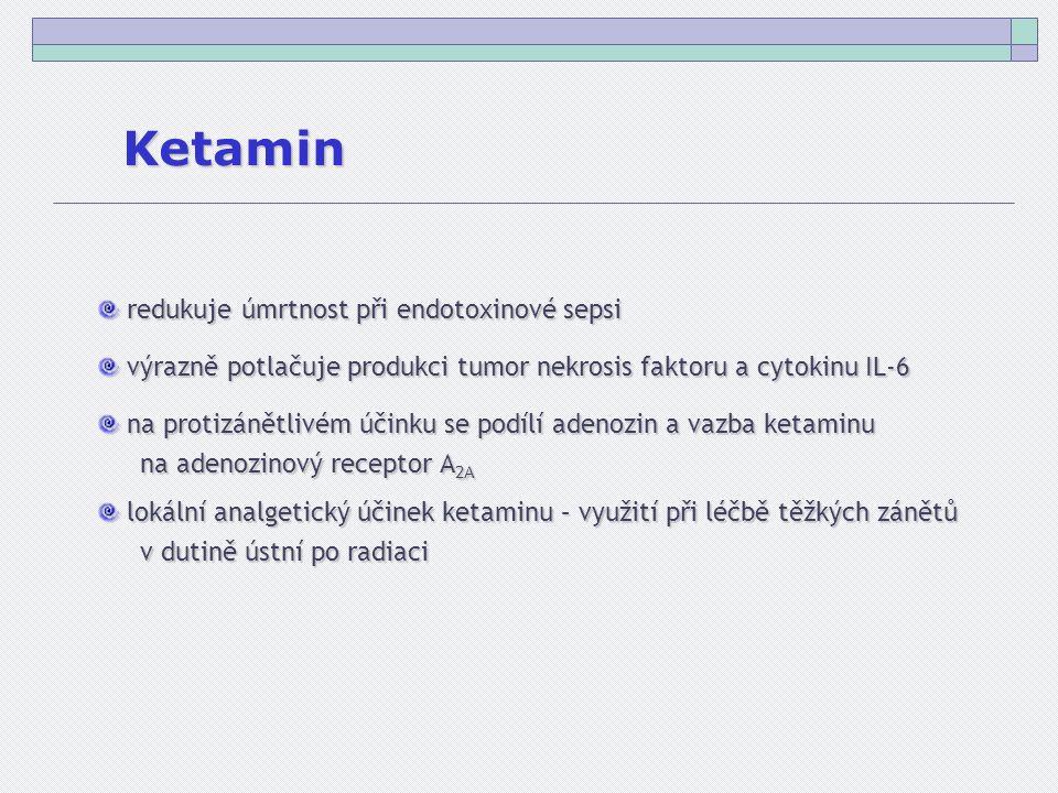 Ketamin redukuje úmrtnost při endotoxinové sepsi redukuje úmrtnost při endotoxinové sepsi výrazně potlačuje produkci tumor nekrosis faktoru a cytokinu IL-6 výrazně potlačuje produkci tumor nekrosis faktoru a cytokinu IL-6 na protizánětlivém účinku se podílí adenozin a vazba ketaminu na protizánětlivém účinku se podílí adenozin a vazba ketaminu na adenozinový receptor A 2A lokální analgetický účinek ketaminu – využití při léčbě těžkých zánětů lokální analgetický účinek ketaminu – využití při léčbě těžkých zánětů v dutině ústní po radiaci