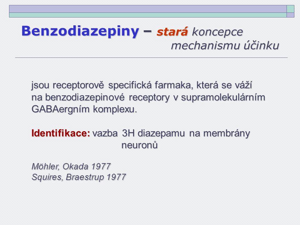 Benzodiazepiny – stará koncepce mechanismu účinku jsou receptorově specifická farmaka, která se váží na benzodiazepinové receptory v supramolekulárním GABAergním komplexu.