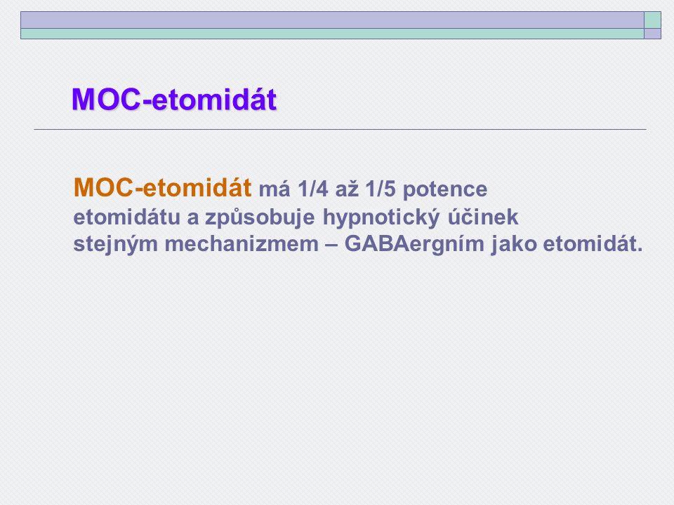 MOC-etomidát má 1/4 až 1/5 potence etomidátu a způsobuje hypnotický účinek stejným mechanizmem – GABAergním jako etomidát.