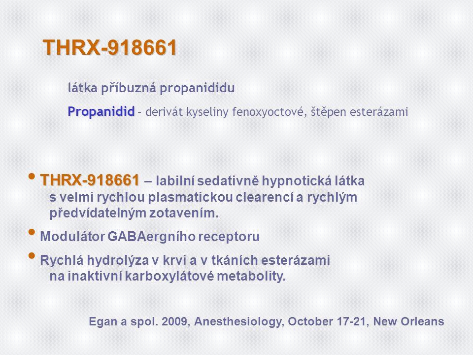 THRX-918661 THRX-918661 – labilní sedativně hypnotická látka s velmi rychlou plasmatickou clearencí a rychlým předvídatelným zotavením.