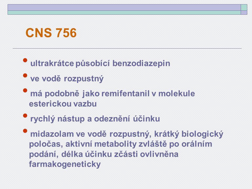 ultrakrátce působící benzodiazepin ve vodě rozpustný má podobně jako remifentanil v molekule esterickou vazbu rychlý nástup a odeznění účinku midazolam ve vodě rozpustný, krátký biologický poločas, aktivní metabolity zvláště po orálním podání, délka účinku zčásti ovlivněna farmakogeneticky CNS 756