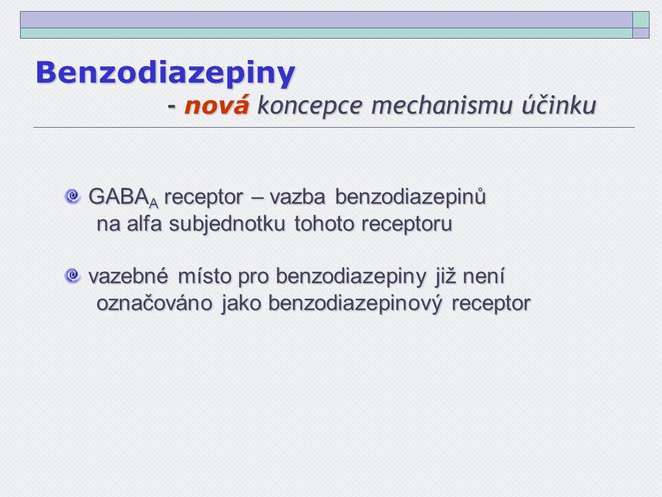 GABA A receptor – vazba benzodiazepinů GABA A receptor – vazba benzodiazepinů na alfa subjednotku tohoto receptoru vazebné místo pro benzodiazepiny již není označováno jako benzodiazepinový receptor vazebné místo pro benzodiazepiny již není označováno jako benzodiazepinový receptor Benzodiazepiny - nová koncepce mechanismu účinku