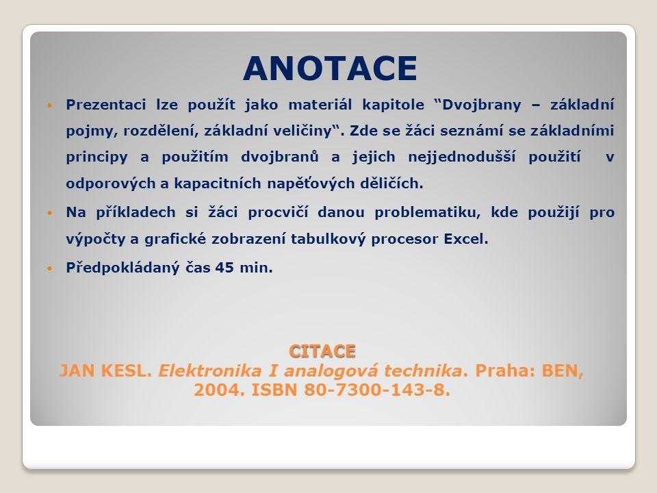 CITACE CITACE JAN KESL.Elektronika I analogová technika.