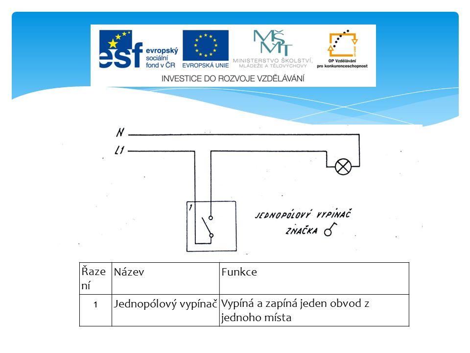 ŘazeníNázevFunkce 6 SoStřídavý přepínač s orientační doutnavkou Střídavě zapíná první nebo druhou větev připojeného obvodu.