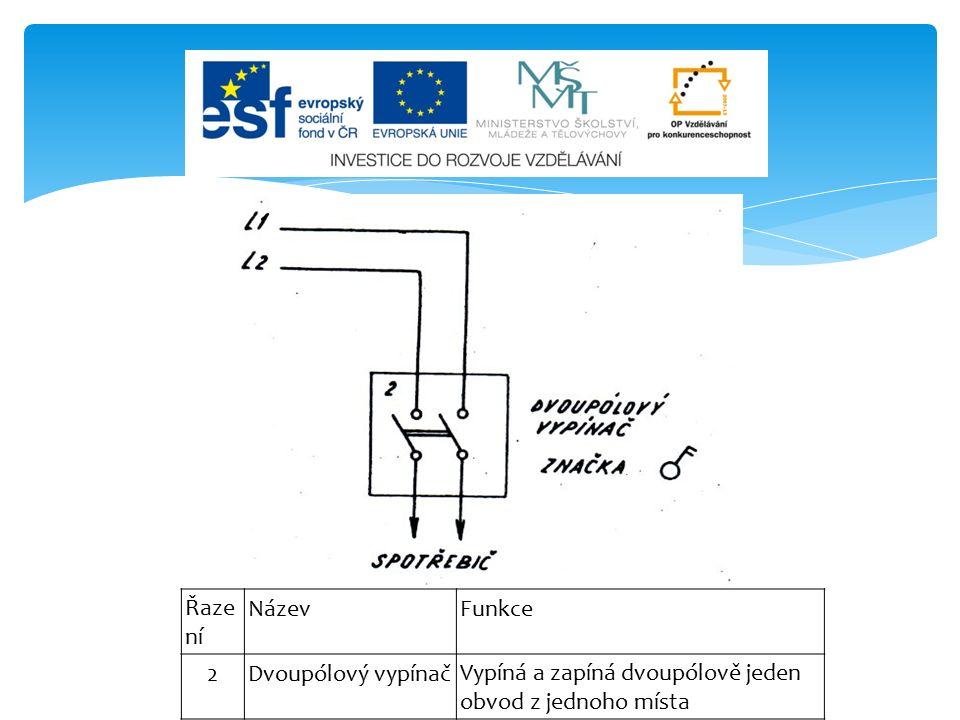 Řaze ní NázevFunkce 2Dvoupólový vypínačVypíná a zapíná dvoupólově jeden obvod z jednoho místa