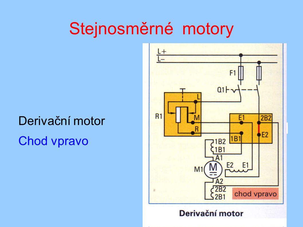 Stejnosměrné motory Derivační motor Chod vpravo