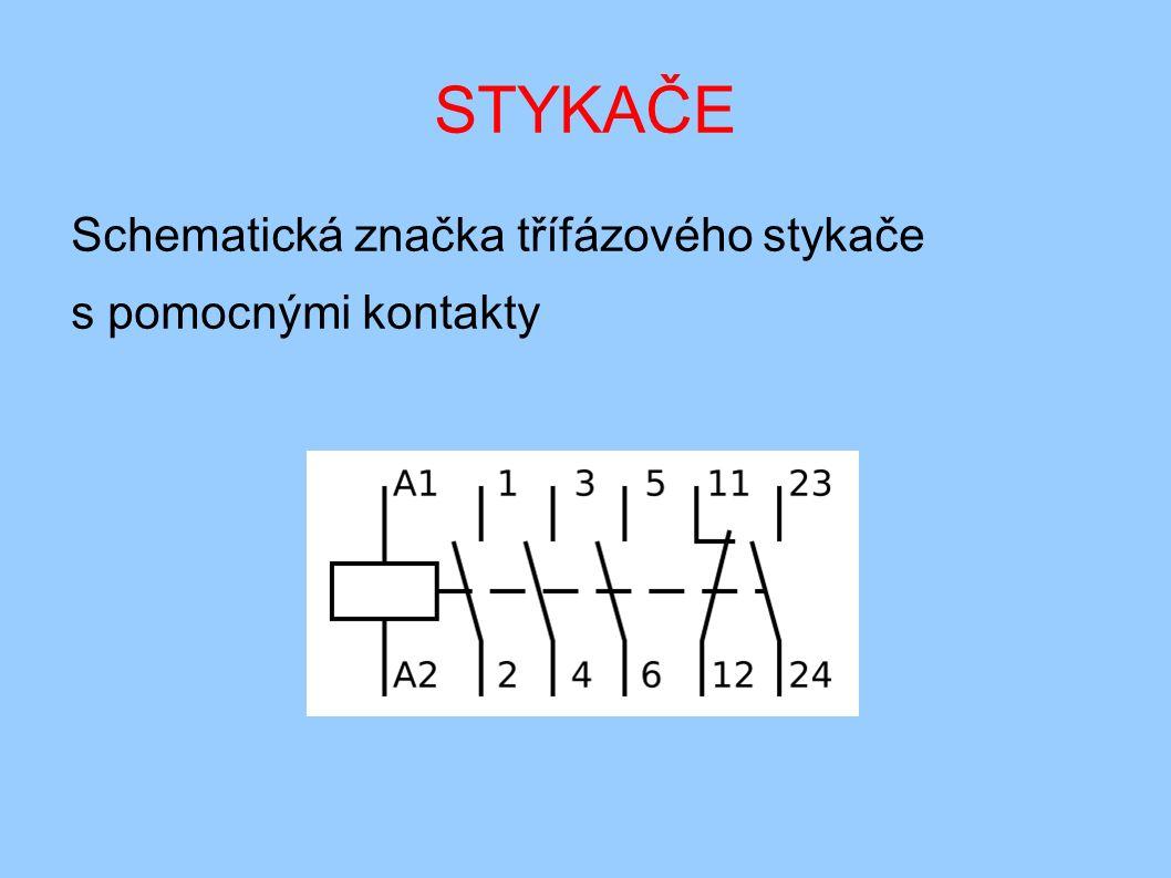 STYKAČE Schematická značka třífázového stykače s pomocnými kontakty