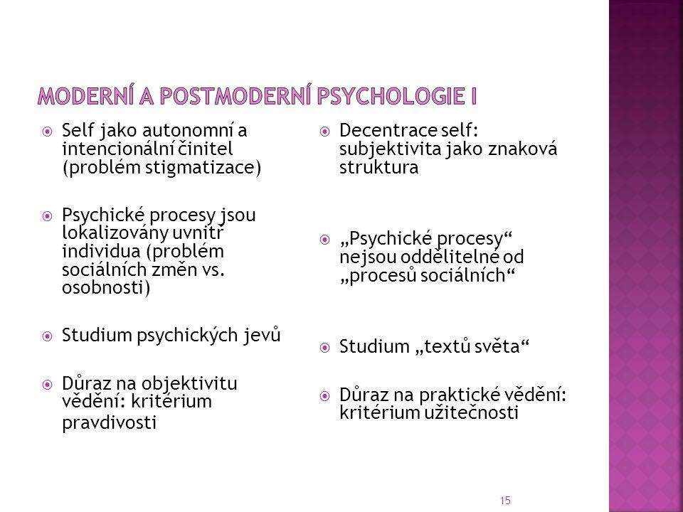 15  Self jako autonomní a intencionální činitel (problém stigmatizace)  Psychické procesy jsou lokalizovány uvnitř individua (problém sociálních změn vs.