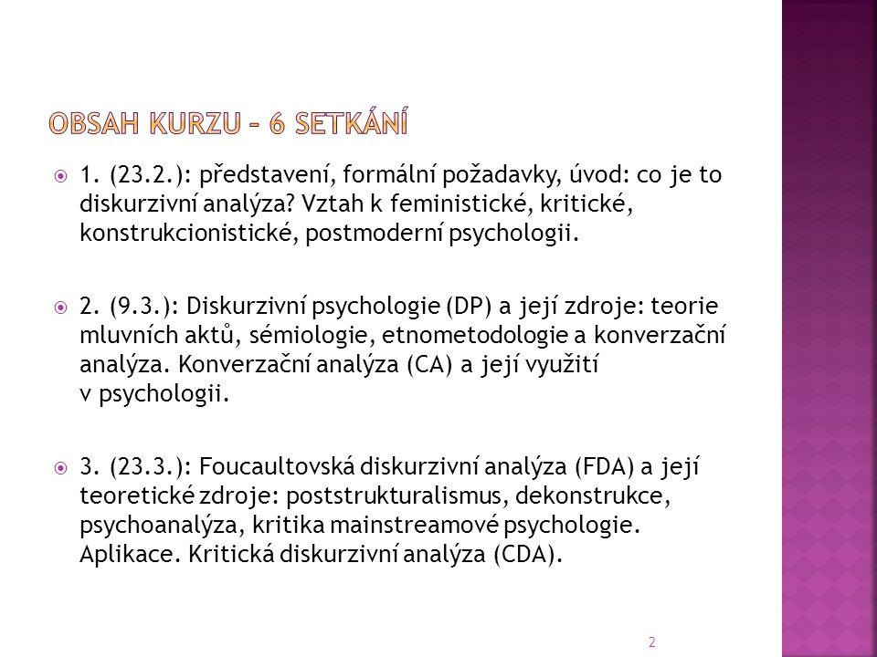 1. (23.2.): představení, formální požadavky, úvod: co je to diskurzivní analýza.
