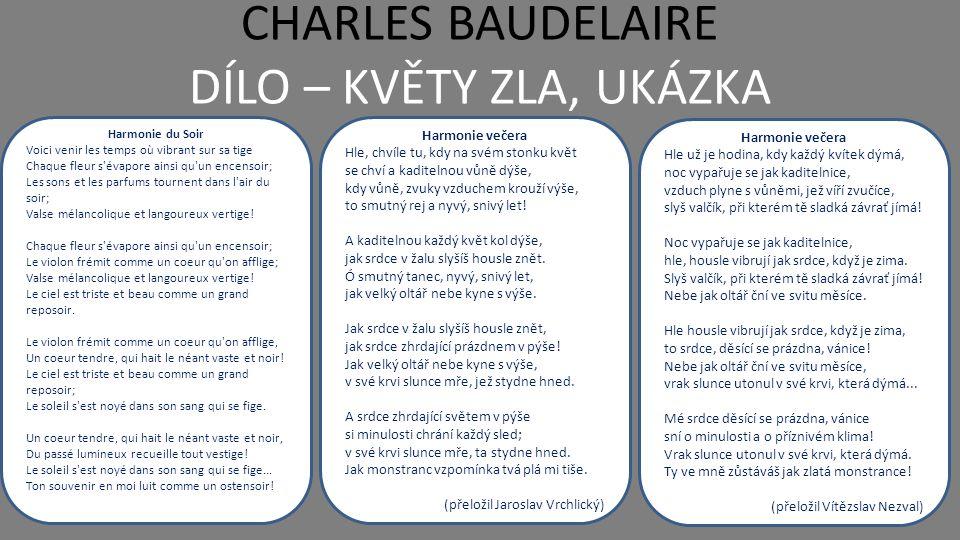 CHARLES BAUDELAIRE DÍLO – MALÉ BÁSNĚ V PRÓZE  ceněná je rovněž i další Baudelairova sbírka - Malé básně v próze, které vyšly až posmrtně (1869)  jde o padesát krátkých poetických próz (zamyšlení), za Baudelairova života vycházely postupně časopisecky pod názvem Splín Paříže Samota Jeden lidumilný novinář mi pravil, že samota člověku neslouží; a aby podepřel svou tezi, citoval, jako všichni nevěřící, slova Církevních Otců.
