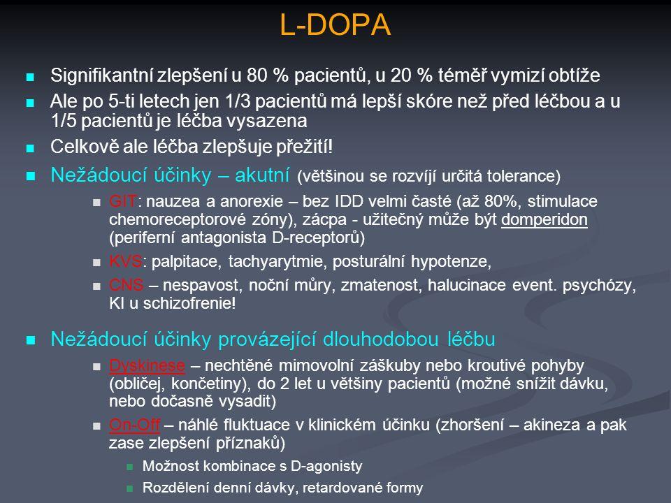 L-DOPA Signifikantní zlepšení u 80 % pacientů, u 20 % téměř vymizí obtíže Ale po 5-ti letech jen 1/3 pacientů má lepší skóre než před léčbou a u 1/5 pacientů je léčba vysazena Celkově ale léčba zlepšuje přežití.